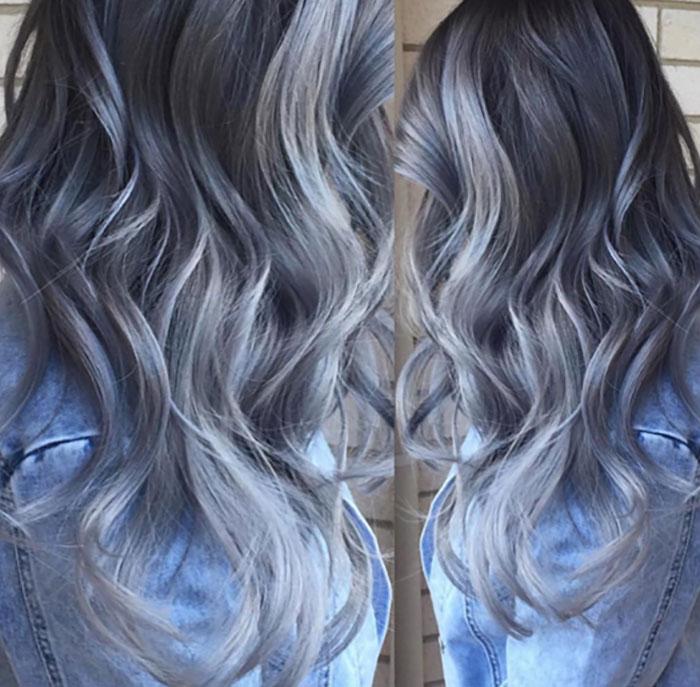 Blue grey ombre hair
