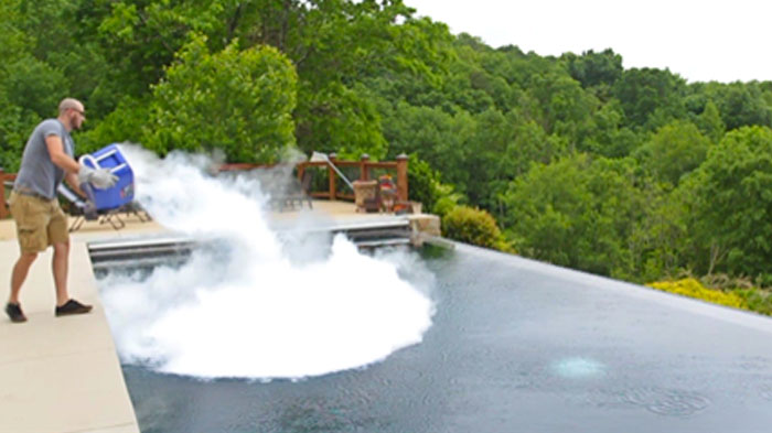 Watch What Happens When 30 Pounds Of Dry Ice Meet A Swimming Pool